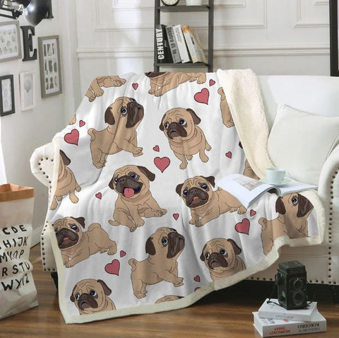Couverture velours et polaire carlin - Bulldog&CoFolies