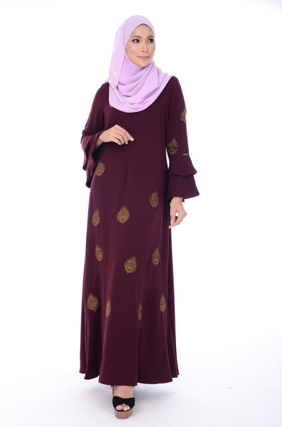 Jubah Gianna - JBH8315-D - Purple Burgundy