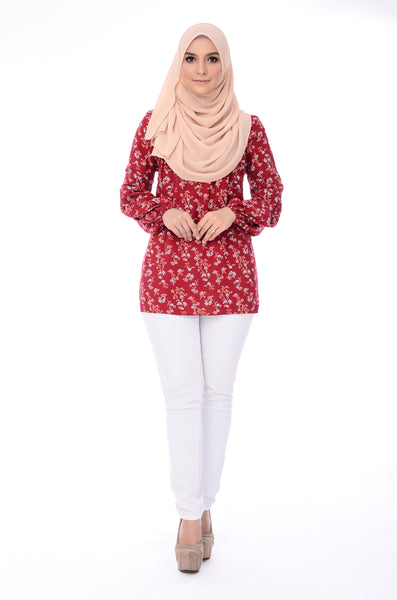 Blouse Carleen Floral - BL60028-D - Maroon