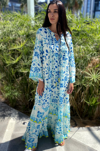 HEMANT AND NANDITA CALARION 167A BLUE MULTI  KAFTAN - LILIS BOUTIQUE