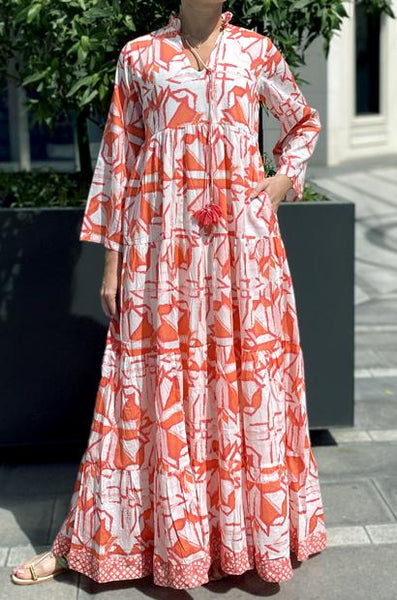 ANAVILA STUDIOS TESSA ORANGE KAFTAN - LILIS BOUTIQUE