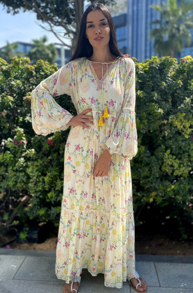 VERB 56 IVORY PRINTED KAFTAN - LILIS BOUTIQUE