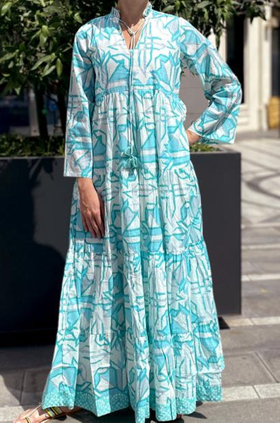ANAVILA STUDIOS TESSA LIGHT GREEN KAFTAN - LILIS BOUTIQUE