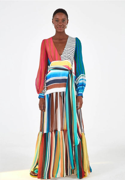 FARM RIO THALITA STRIPE MAXI DRESS