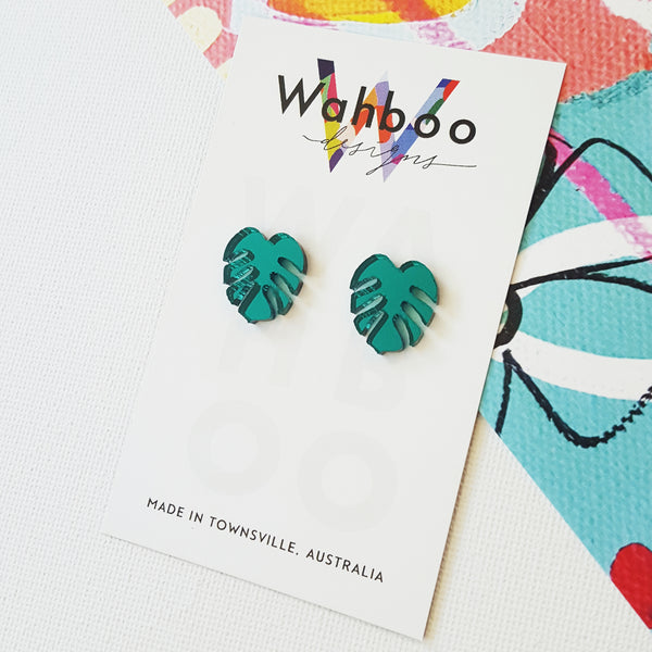'Mini Monstera' Mirror Stud Earrings