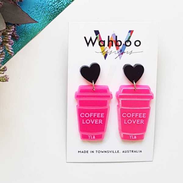 'Coffee Lover' Collaboration Dangle Earrings with Three Little Boys Clothing (Pre-Order)