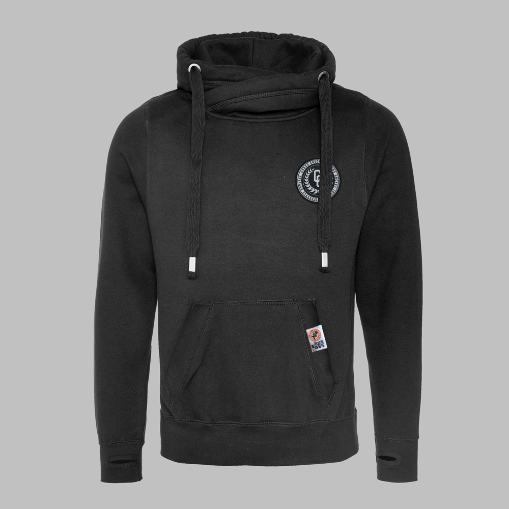 High Neck Hoodie Black