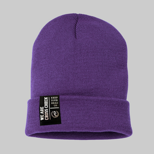We Are Cross Check Purple Beanie