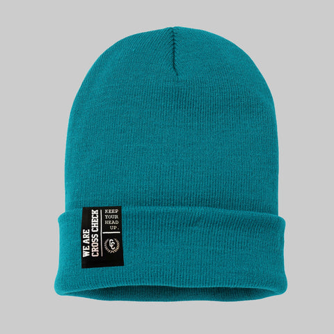 We Are Cross Check Teal Beanie