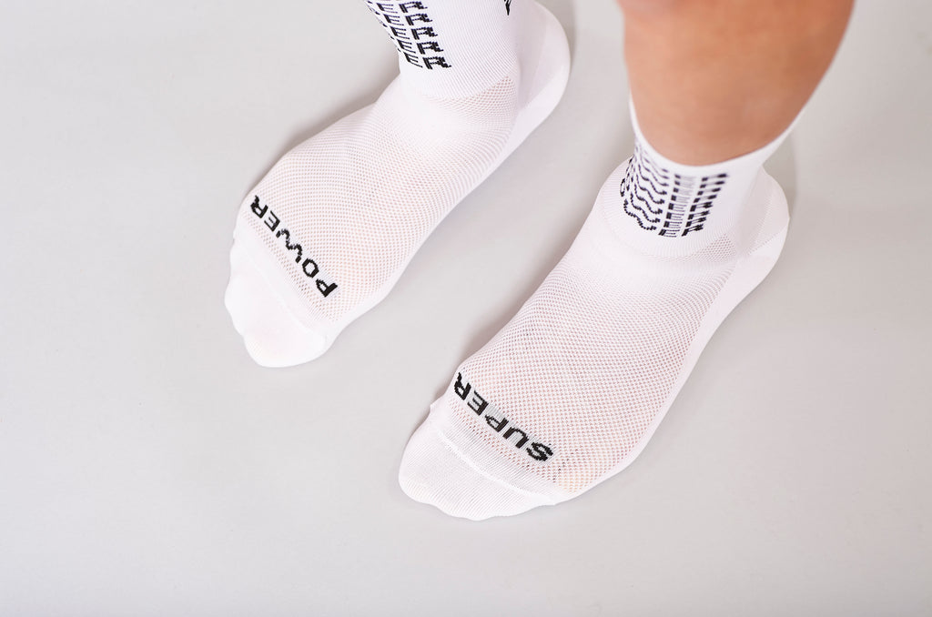 super power white fingerscorssed cycling socks