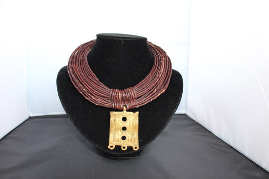 Leather rope bronze & brown