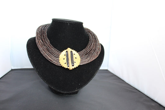 Leather rope brown & and round Bronze