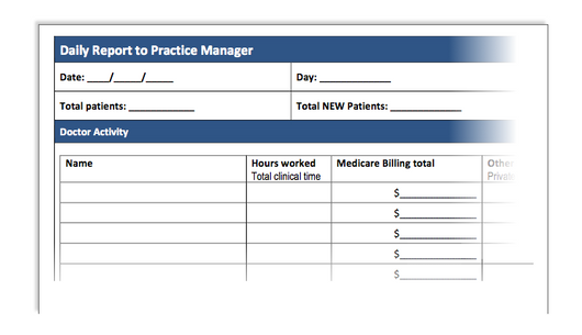 Daily Report to Practice Manager