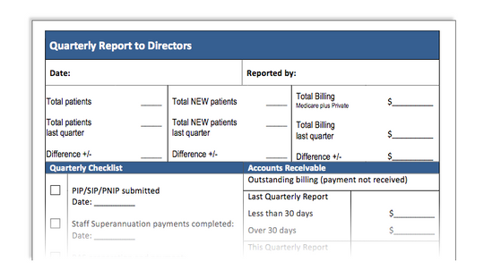 Quarterly Report to Directors