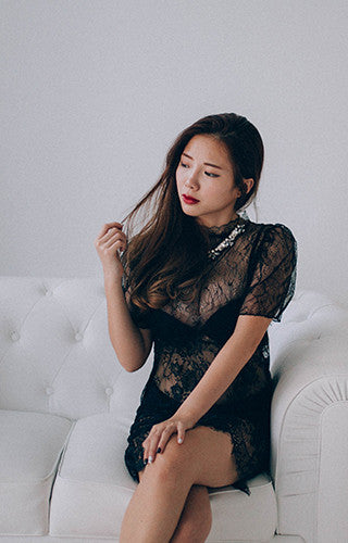 Sheer Lacy Black Dress