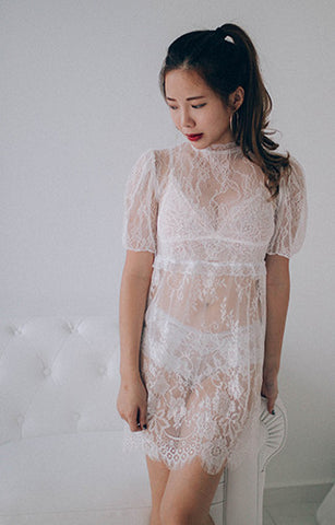 Sheer Lacy White Dress