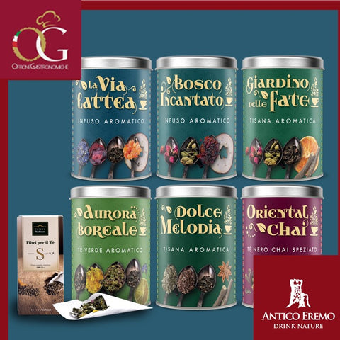 Kit Tè, Tisane e Infusi | Box da 6 BIG Barattoli Assortiti + 1 Confezione Filtri - officinegastronomiche