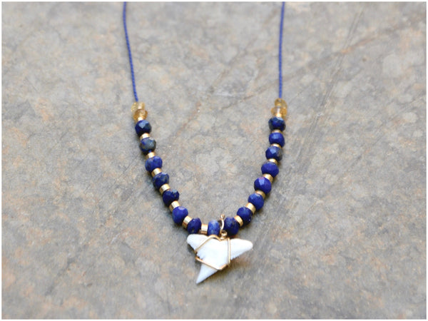 NAVY BLUE SHARK Necklace