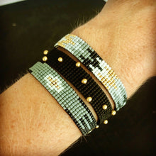 3-ROW CUFF WITH BLACK CLASP