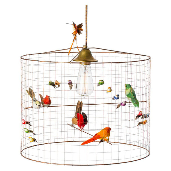 SMALL BIRD CAGE SUSPENSION LAMP BY MATHIEU CHALLIERES