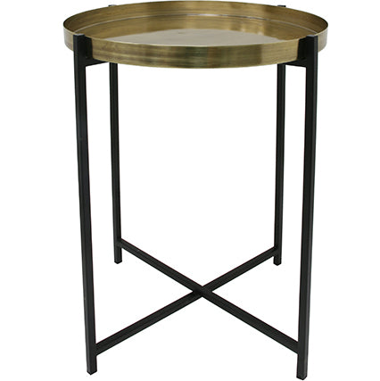 BRASS/BLACK SIDE TABLE MEDIUM BY HK LIVING