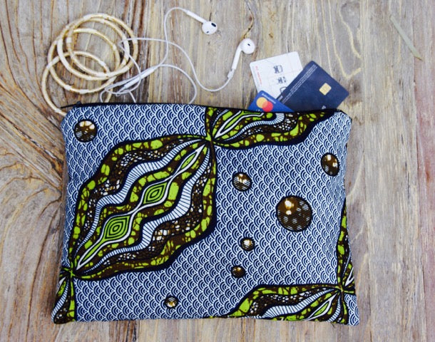 Large Blue & Green African Clutch