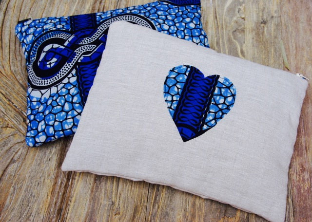 Large Beige With Blue Heart African Clutch