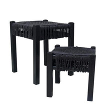 HAND-KNOTTED ROPE STOOLS IN BLACK  | SET OF 2 BY HK LIVING