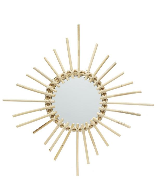 SQUARE RATTAN EDGED ROUND MIRROR BY HK LIVING