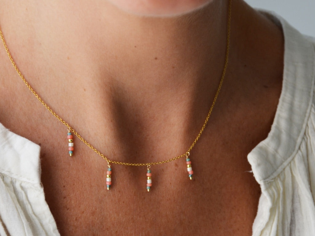 TEPEE PINK BLUE Necklace