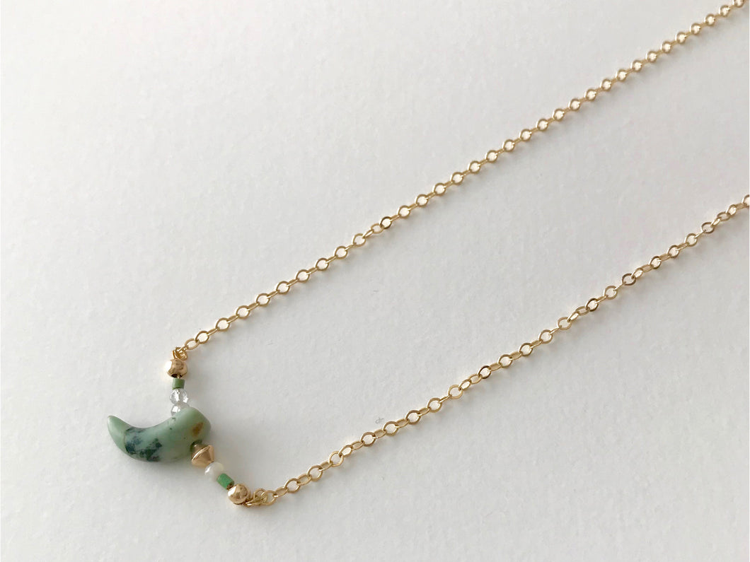 Green-Turquoise African HORN Pendant Necklace