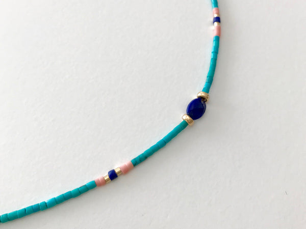 TURQUOISE BEADS Necklace with Lapis lazuli stone