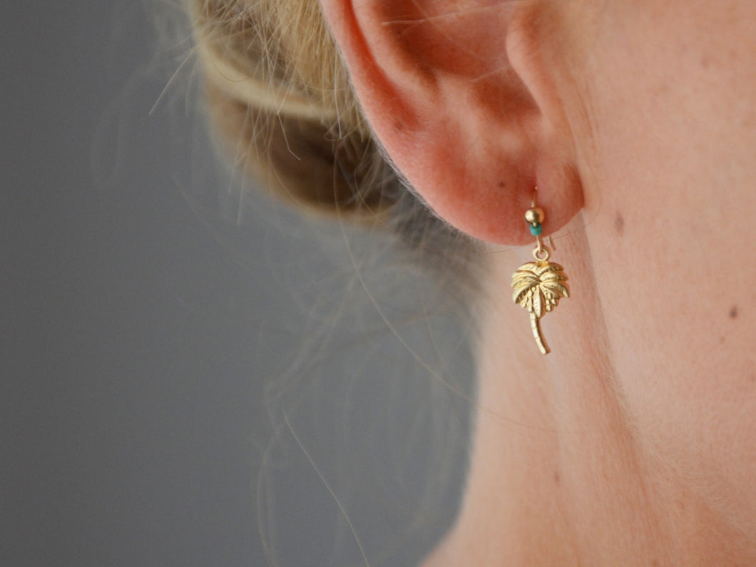GOLD PALM TREE & Turquoise Pendant Earring