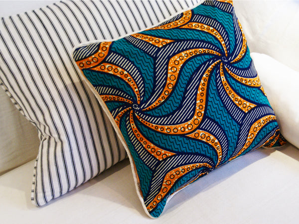 African Wax Print Orange And Blue Cushion Cover