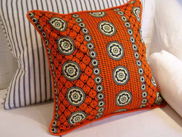 African Wax Print Orange Cushion Cover