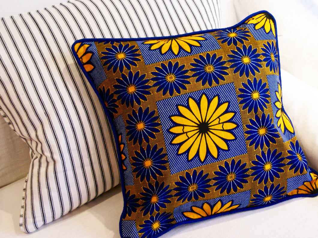 African Wax Flower Print Cushion Cover