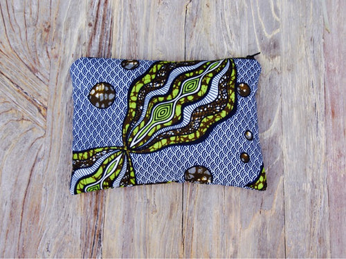 Small Blue and Green African Clutch
