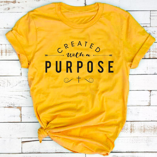 Created With a Purpose Cross Christian T-Shirt - The Accessorie Hub
