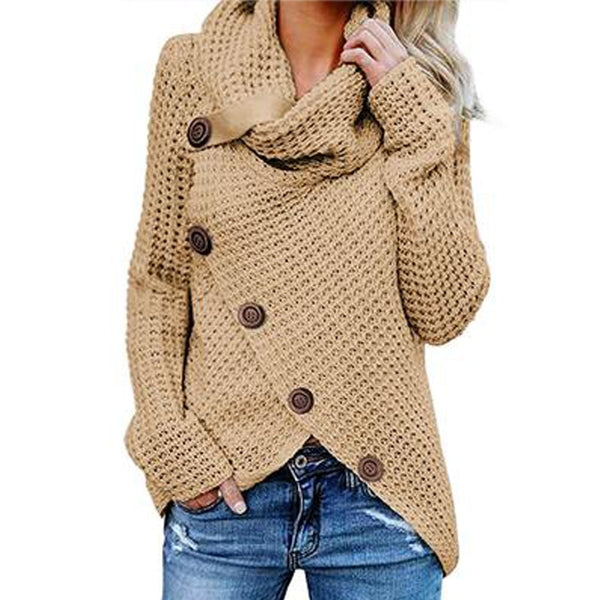 Long-sleeved sweater five-button high-necked pullover solid