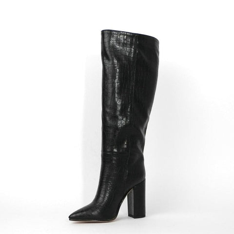 Designer Faux Leather Women Knee High Boots Pointed Toe - The Accessorie Hub