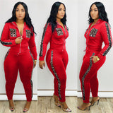 Tracksuit  Leopard Print Splice Lounge Wear Two Piece Set