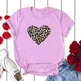Leopard Love Heart Print Women  T Shirt - The Accessorie Hub