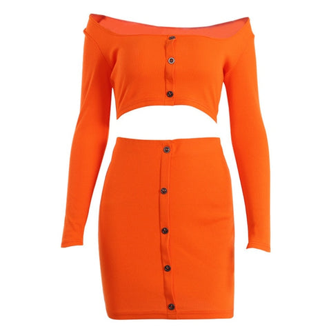 Off Shoulder Two Piece Set Solid Button Top and Skirt - The Accessorie Hub