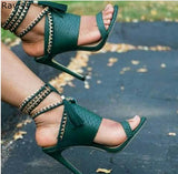 Summer Lace Up Green Sandals/ Pumps