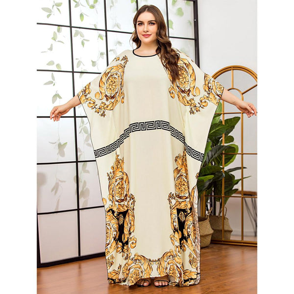 Women Casual batwing sleeve floral  moroccan gown
