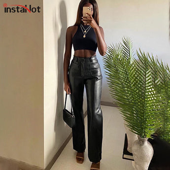 Women Faux Leather Pant Pockets Straight Pants