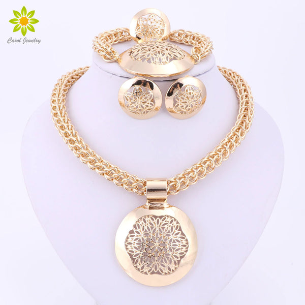 African Jewelry Set Round Pendant Gold Plated Dubai Big Necklace Earrings Wedding Sets Gift - The Accessorie Hub