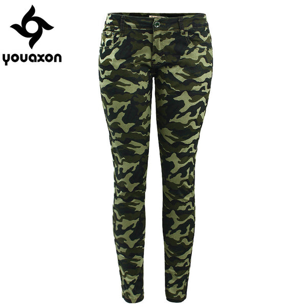 Women`s S-XXXXXL Plus Size Chic Camo Army Green Skinny Jeans For Women - The Accessorie Hub