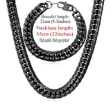 Stainless Steel statement Necklace And Bracelet Set - The Accessorie Hub