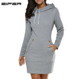 Warm Winter High Quality Hooded Dresses Pocket Long Sleeved Casual - The Accessorie Hub